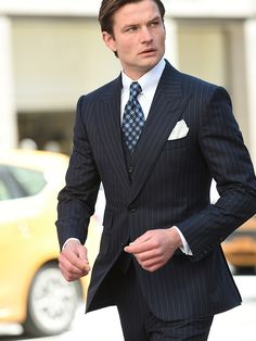 Michael Andrews Bespoke Custom Navy Medium Pinstripe Fall Suit with Peak Lapels. Afternoon martinis anyone? New York's Premier Custom Tailor. Mens Fashion Suits, Mens Suits, Groom Suits, Suit Men, Groom Attire, Stylish Men, Men Casual, Three Piece Suit, Navy 3 Piece Suit