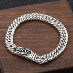 Metal Type: 925 Sterling SilverChain Width: 9 mmLength: 19 cmBracelet cm 【fits wrist less than cm】Weight: gMinimum Order: 1 Cool Mens Bracelets, Metal Bracelets, Bracelet Men, Mens Silver Jewelry, Dragon Necklace, Silver Man, Bracelet Sizes, Wire Wrapped Jewelry, Sterling Silver Chains
