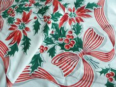 Vintage Tablecloth and Christmas! Can't go wrong!