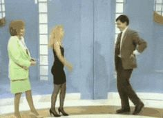 This seems like a perfectly acceptable move when someone goes in for the close greeting. Personal space. Mr. Bean. Yes.