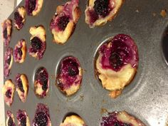 White chocolate blackberry tarts..... Cut a roll of crescent dough into squares and smush it into the holes of a mini muffin tin. Spoon Philly Indulgence white chocolate cream cheese onto dough, then top with a frozen blackberry and a sprinkle of brown sugar. Place in preheated oven @350 for 12 minutes! Took me 20 minutes with prep and they were fantastic!!
