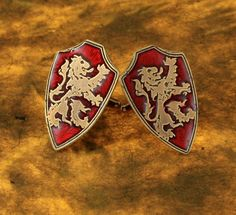For the dapper fellow who likes unique cufflinks these cufflinks are soldered together and coated on the back to finish off their appearance. The featured image the lion rampant. The red inlay really