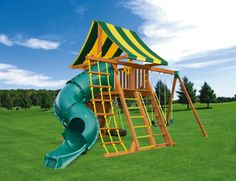 The Supreme Jungle Gym #6  is a great way to get a spiral tube slide for the kids in a smaller size swing set. The set also comes with two sling swings, tire swing, and a gym ring/trapeze combo along with everything else pictured.