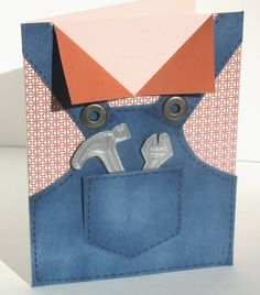 For Father's Day last year I created this card: Since then I have had many people ask me for the pattern for the overalls. I just now fi. Boy Cards, Kids Cards, Scrapbooking, Scrapbook Cards, Pinterest Cards, Suit Card, Origami Instructions, Fathers Day Cards, Card Tags