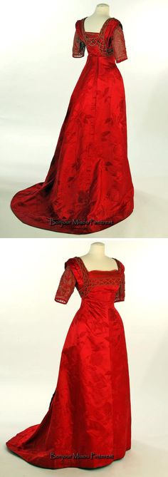 Evening dress, Callot Soeurs, 1895 but redesigned in the Edwardian style. Two pieces; red silk damask. Liberty Hall Museum, Kean Univ., via HistoryPin