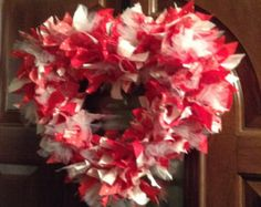 Heart Shaped Rag Wreath#2- Happy Valentine's Day