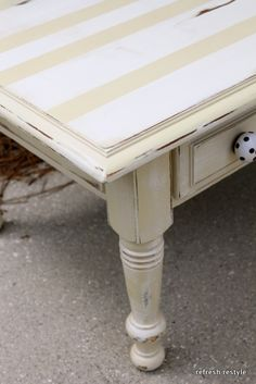 Coffee table makeover in colors I can do    http://refreshrestyle.com/2012/09/coffee-table-makeover/