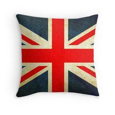 Grunge Effect Union Jack Throw Pillows