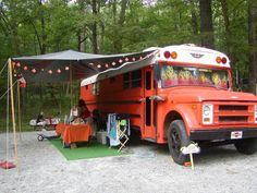 paint/reno an old school bus. use as camper. sure is cheaper than an Airstream. School Bus Camper, School Bus House, Old School Bus, Rv Bus, Rv Campers, Truck Camper, Camper Van, Converted Bus, Bus Living