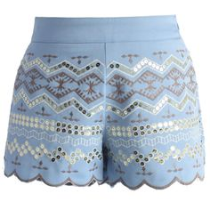 Chicwish Sequins Embellished Shorts in Baby Blue ($36) ❤ liked on Polyvore featuring shorts, bottoms, short, pants, blue, short shorts, multi colored shorts, baby blue shorts, embroidered shorts and sequin shorts