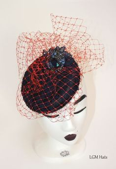 www.lgmhats.com  Navy and coral pillbox hat