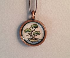 Art Pendant Necklace Miniature Watercolor Painting of a Bonsai Tree by EOBrownArt