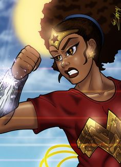 Whenever I feel as though thingss are tough, I envision myself as Wonder Woman coming to MY OWN rescue. This African American Wonder Woman image ROCKS! Black Girl Art, Black Women Art, Black Girl Magic, Art Girl, Black Girls, African American Art, African Art, American Women, Wonder Woman