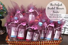 Bridal Shower Decor Favor of mini wine bottles