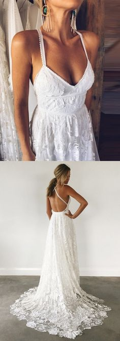 dreamy backless wedding dresses with train, fashion v-neck wedding gowns preserving wedding dress/flowy wedding dresses/satin wedding dress/highneck wedding dresses/beach wedding dress/ Lace Beach Wedding Dress, Backless Wedding, Sexy Wedding Dresses, Perfect Wedding Dress, Wedding Gowns, Lace Wedding, Wedding Venues, Wedding Halls, Bridal Gowns