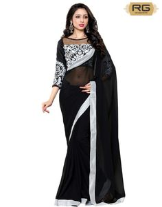Black Heavy Blouse Saree || Get the classic heavy blouse look in the black saree with embroidered blouse. || RG Designers