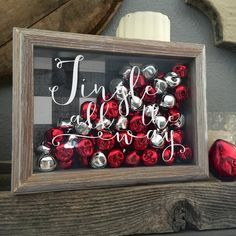Jingle All The Way Shadow Box, Christmas Decor, Jingle Bells, Christmas Carol Decor Spode Christmas Tree, Christmas Signs, Diy Christmas Gifts, Rustic Christmas, Christmas Projects, Christmas Home, All Things Christmas, Christmas Holidays, Christmas Wreaths