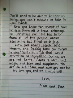 I don't think I'll ever actually say there's no Santa (my parents never did), but just in case.Santa Letter, for when the kids find out.absolutely LOVE this Noel Christmas, Christmas And New Year, Winter Christmas, All Things Christmas, Christmas Ideas, Christmas Traditions, Christmas Quotes, Christmas Crafts, Christmas Inspiration