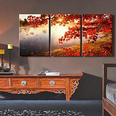 moderne stijl esdoornblad hoge klasse wandklok in canvas set van 3 – EUR € 54.54
