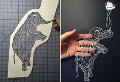 Knife cut paper animals - Maude White bravebirdpaperart.com