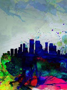 Naxart 'Miami Watercolor Skyline' Painting Print on Wrapped Canvas Size: Painting Prints, Watercolor Paintings, Art Prints, New Orleans Skyline, Canvas Wall Art, Canvas Prints, Skyline Painting, Online Art Gallery, 5 D