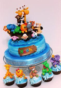 Noah's Ark cake, so cute. Fancy Cakes, Cute Cakes, Mini Cakes, Cupcake Cakes, Baby Boy Cakes, Cakes For Boys, Baby Shower Cakes, Noahs Ark Cake, Small Cupcakes