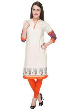 Khadi cotton Casual wear Kurti in Orange Colour
