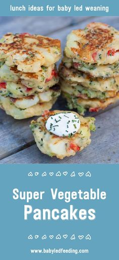 Super healthy Vegetable Pancakes are chock-full of vitamin and mineral rich veggies. They're small and easy for babies to hold when blw. via @https://www.pinterest.com/babyledfeeding