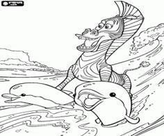 De zebra Marty en de dolfijnen kleurplaat
