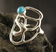 STERLING SILVER Bezel Set 4mm Turquoise Stone on by bopartpottery, $39.00