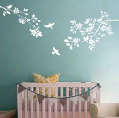 Cherry Blossom Wall Decal Large Tree Branch Nursery Living room Bedroom Office Japanese Wall Stickers Birds Flower Floral White Decals Enhance your room with simplicity and beauty of this nature inspired Wall Decal : Cherry Blossom Tree Branch with birds. Item number: D-134 Decal