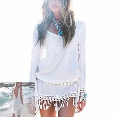 Bohemian Chiffon Tassel shirt is a very sexy addition to your summer wardrobe. Sizes: S to 3X Always Free Shipping! No Taxes! Finnickcove.com