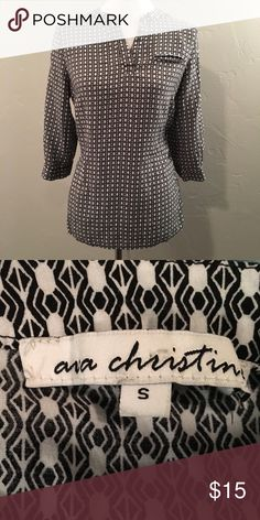 🍒 Black and White Top 🍒 * Excellent  Condition * Very Gently Used * Smoke-free home  * I would be happy to take specific measurements on request.  * No offer refused! 😀 Will either accept or counter Ava Christine Tops Blouses