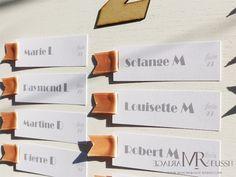 Plan de table bohème chic, étiquette imprimées sur papier irisé, ruban de satin pêche