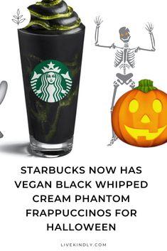 Starbucks UK is upping its vegan options. The coffeehouse chain will soon launch a vegan Phantom Frappuccino for Halloween. Starbucks Halloween Drinks, Vegan Starbucks Drinks, Starbucks Recipes, Dairy Free Starbucks, Starbucks Uk, Starbucks Secret Menu, Frappuccino Recipe, Starbucks Frappuccino, Uk Recipes