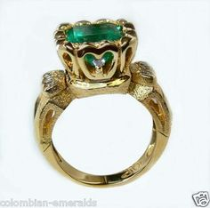 Fabulous Colombian Emeralds Ring 4.50 Cts Gem Quality. $9,800.00, via Etsy.