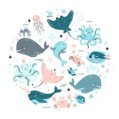 Set of sea animals Premium Vector Illustration Mignonne, Sea Illustration, Cute Animal Illustration, Digital Illustration, Autumn Animals, Spring Animals, Steampunk Animals, Dancing Animals, Whales