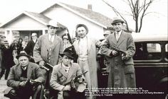 """December 26, 1933, Wilbur Underhill was celebrating his honeymoon in Shawnee, Oklahoma. Tipped off, a strike force led by R.H. Colvin and Frank Smith, the latter a survivor of the Kansas City Massacre called on him to surrender, Underhill began firing and the task force (above) returned. Shot and wounded, Underhill was taken to McAlester prison where he remained, handcuffed in his bed until his death on January 6, 1934. His last words were """"Tell the boys I'm coming home"""""""