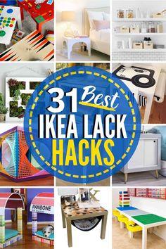 31 Inventive IKEA Lack Hacks You'll Love! #IKEA #Ikeahacks #Ikealack #ikealackhacks #ikealackshelf #ikealacktablehack #ikealackshelves #ikealackshelfhack #ikealackwallshelf #ikealacktvstandhack Ikea Lack Tv Stand, Lack Table Hack, Ikea Lack Wall Shelf, Ikea Lack Hack, Lack Shelf, Ikea Lack Table, Ikea Hacks, Ikea Closet Design, Closet Designs
