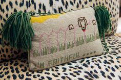 needlepoint pillow.  detail from asia baker's mill neck estate.