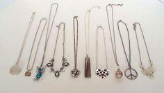 "10 Piece Estate Lot Vintage Modern Pendant Necklaces  8.5"" - 14"" Owl Peace Sign  #Unbranded #Pendantchainmultistrand"