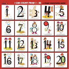 I Can Count from 1 to 20 is a poster of our stylized numbers arranged in rows of…