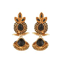 Pure collection black colour ethnic indian antique golden earrings for women dilan jewels