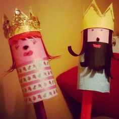 King and queen from toilet paper roll crafts