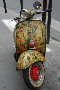 Parisian scooter: remember the feel of the decoupaging, but use...vintage Japanese chiyogami paper designs.