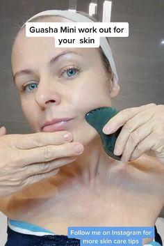 Face Yoga Exercises, Gua Sha Facial, Facial Yoga, Face Massage, Face Skin Care, Sport Motivation, Facial Care, Tips Belleza, Skin Treatments