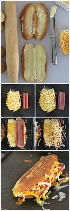 Grilled Cheese Hot Dogs Really nice recipes. Every hour. Show me Hot Dog Recipes, Great Recipes, Favorite Recipes, Burger Recipes, Coffee Recipes, Easy Recipes, Healthy Recipes, Grilled Cheese Hot Dog, Grilled Cheeses