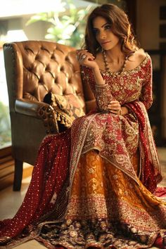 Nadia Ellahi's bridal couture line radiates luxury and elegance. Her high impact pieces are for a modern bride who likes a classic and traditional touch. The rich fabrics are speckled with intricate gold and silver hand embroidery, embellished with swarovski and kamdani, and the entire collection