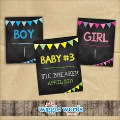 """We are definitely seeing a trend of """"chalkboard"""" background baby announcements. Here's an adorable tie-breaker design."""