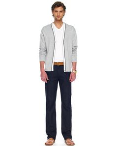 Michael Kors Tipped Cardigan, Liquid Jersey Tee & Modern-Fit Stretch Jeans.